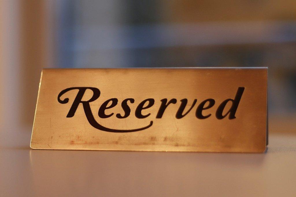 reservation, reserved, metal